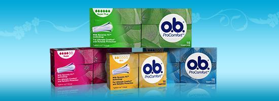 Billede af forskellige produkter fra o.b. tamponer. O.b. Original og o.b. ProComfort.