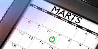 Billede af en kalender med en dag kredset i grøn. Information om mobilprogram: o.b.'s menstruationskalender.